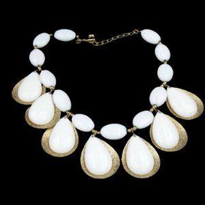 Vintage Napier White Lucite Drop Bib Necklace